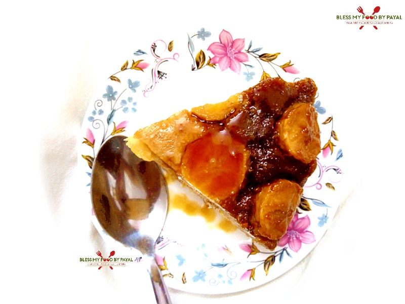 eggless banana upside down cake