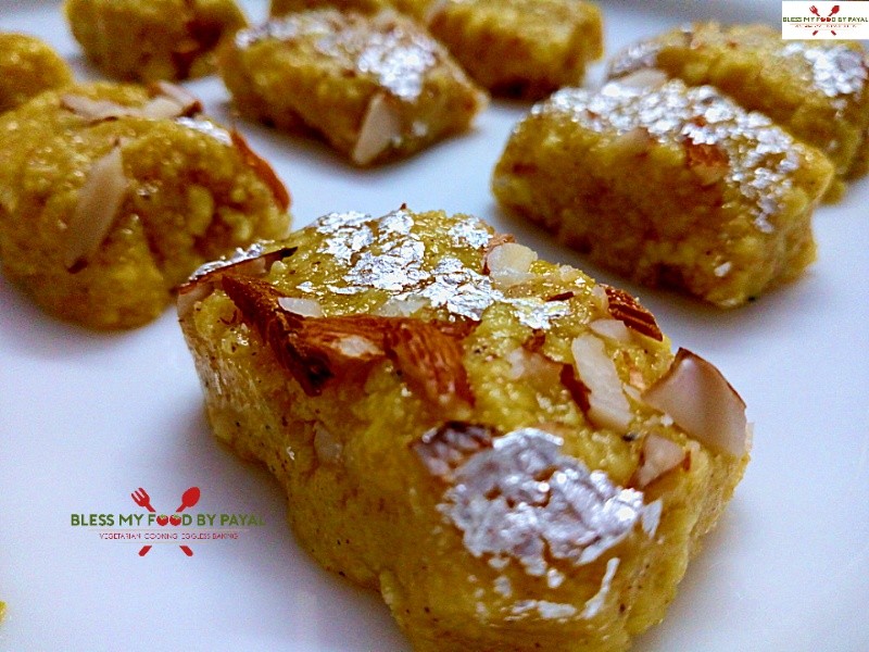 Custard flavoured Paneer Barfi from leftover ghee residue