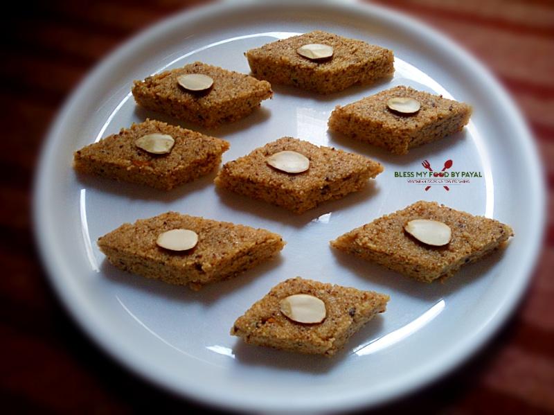 Suji Mawa Barfi Recipe Rava Khoya Burfi Sooji Ki Barfi With Leftover Desi Ghee Residue Bless My Food By Payal